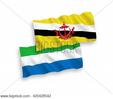 National Fabric Wave Flags Of Brunei And Sierra Leone Isolated On White Background. 1 To 2 Proportio