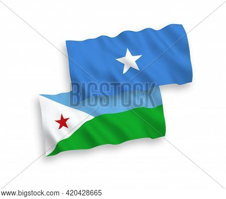 National Fabric Wave Flags Of Republic Of Djibouti And Somalia Isolated On White Background. 1 To 2