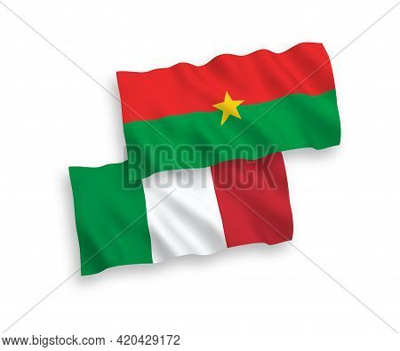 National Fabric Wave Flags Of Italy And Burkina Faso Isolated On White Background. 1 To 2 Proportion