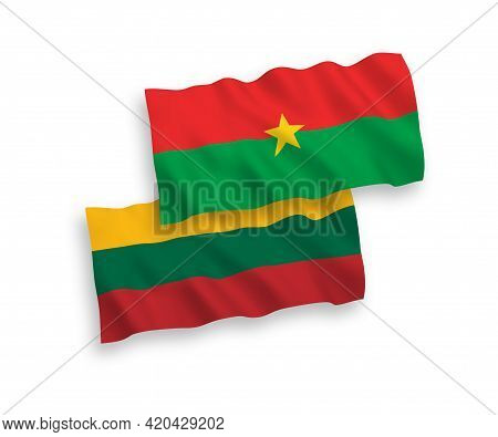 National Fabric Wave Flags Of Lithuania And Burkina Faso Isolated On White Background. 1 To 2 Propor