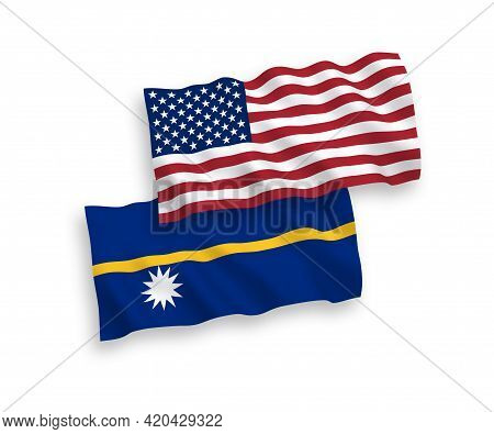 National Fabric Wave Flags Of Republic Of Nauru And Usa Isolated On White Background. 1 To 2 Proport