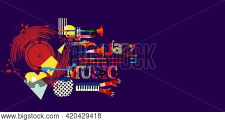 Musical Promotional Poster With Musical Instruments And Lp Vinyl Record Vector Illustration. Artisti