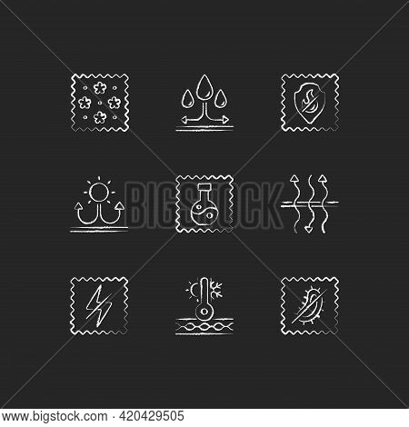 Fabric Properties Chalk White Icons Set On Black Background. Water Repellent. Breathable, Antistatic