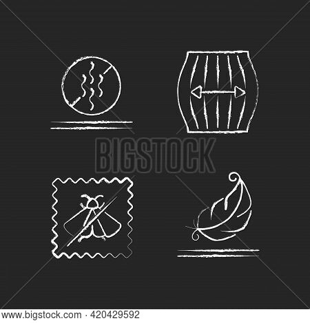 Textile Qualities Chalk White Icons Set On Black Background. Fabric Feature. Odor Resistant. Stretch