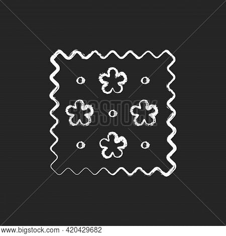 Abstract Print Pattern On Fabric Chalk White Icon On Black Background. Simple Fiber Label. Cute Trac