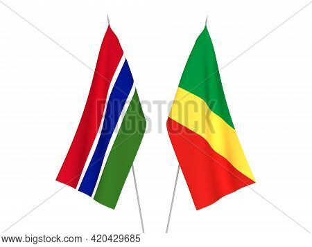 National Fabric Flags Of Republic Of Gambia And Republic Of The Congo Isolated On White Background.