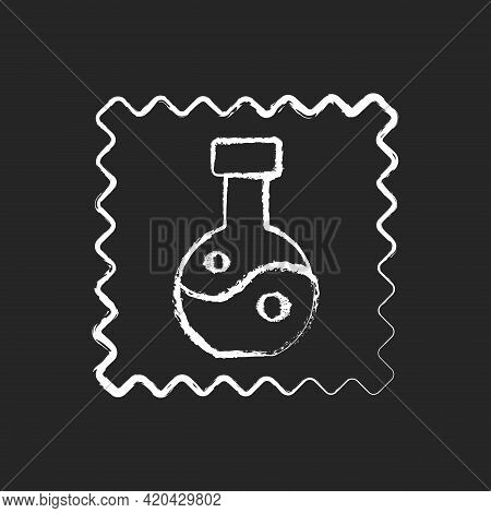 Synthetic Fabric Property Chalk White Icon On Black Background. Fiber Label. Artificial Fiber. Speci