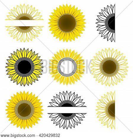 Set Of Sunflower. Split Monogram. Vector Paper Cut Template. Sunflower Outline. Flower Silhouettes.