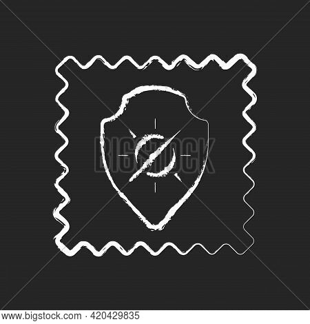 Uv Protection Fabric Feature Chalk White Icon On Black Background. Special Tissue Property. Sunlight