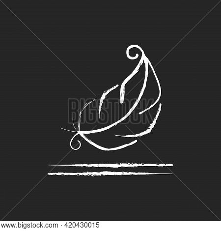 Lightweight Fabric Property Chalk White Icon On Black Background. Feather Symbol For Pillows And Bla