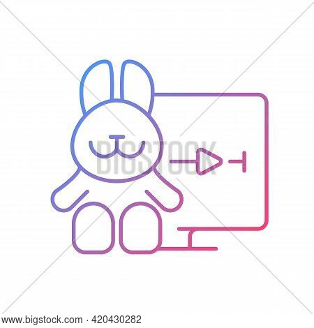 Cartoons Streaming Gradient Linear Vector Icon. Family-friendly Shows. Entertainment Content For Tod