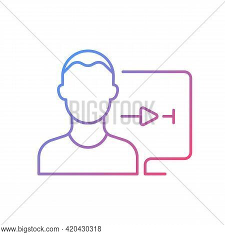 Streaming Service User Account Gradient Linear Vector Icon. Watching Video At Home. Account For Pers