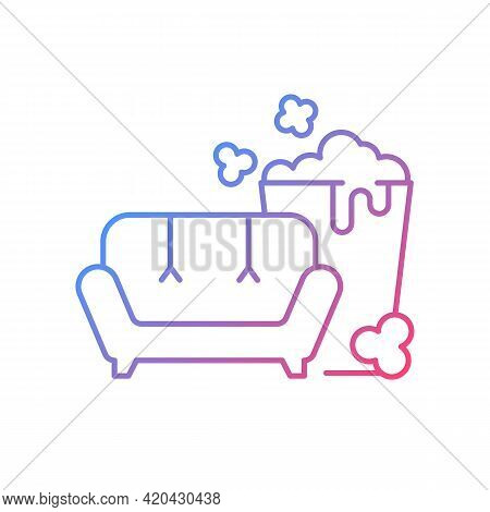 Tv Series Streaming Gradient Linear Vector Icon. Mini-series. Watching Tv With Popcorn Bucket. New R