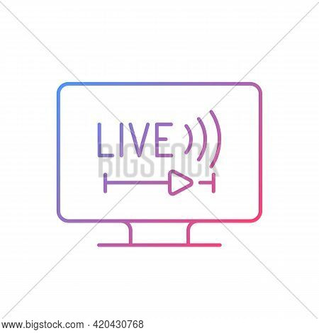 Live Tv Gradient Linear Vector Icon. Online Tv Service. Live Television. Programs Broadcasting In Re