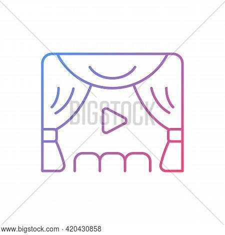 Premiere Gradient Linear Vector Icon. Watching Streaming Movies And Tv Series. Online Event In Real-