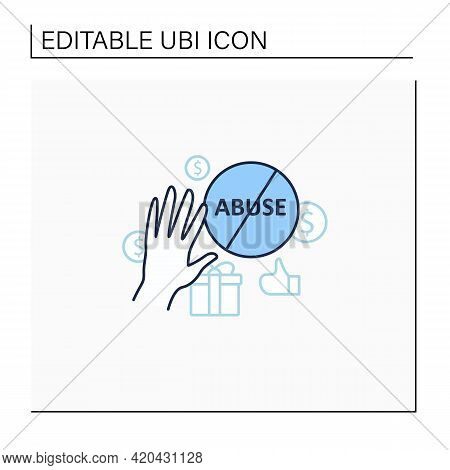 Ending Abuse Line Icon. Stop Exploitation. Universal Basic Income Concept. Isolated Vector Illustrat