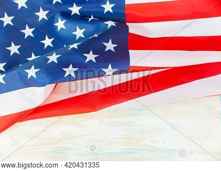 4th Of July Independence Day Usa. American Flag And Flowers For Memorial Day. Memorial Day Concept.