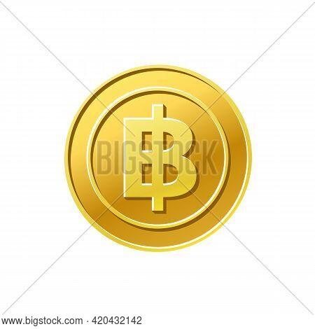 Coin Icon. Thailand Baht Symbol. Golden Coin