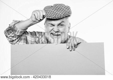 Announcement Concept. Senior Bearded Man Peek Out Of Banner Place Announcement. Event Announcement.
