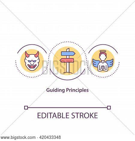 Guiding Principles Concept Icon. Personal Beliefs, Values Idea Thin Line Illustration. Dynamic, Posi