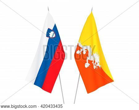 National Fabric Flags Of Slovenia And Kingdom Of Bhutan Isolated On White Background. 3d Rendering I