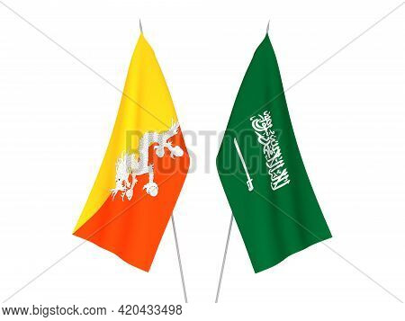 National Fabric Flags Of Saudi Arabia And Kingdom Of Bhutan Isolated On White Background. 3d Renderi