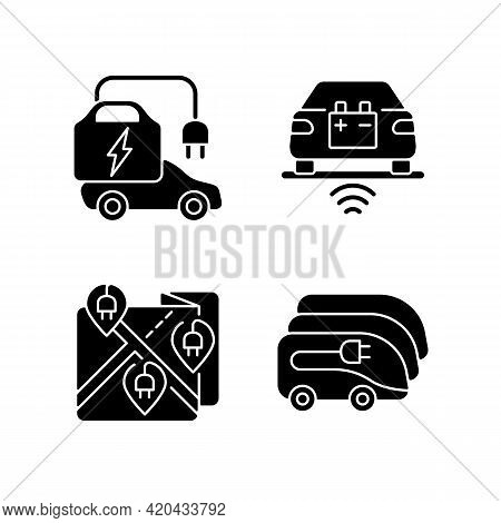 Electric Vehicle Charging Black Glyph Icons Set On White Space. Charging Time Of Electromobiles. Mon