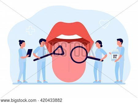 Open Mouth With Protruding Tongue, Checkup Health Tongue Doctor. Tongue And Disease. Vector