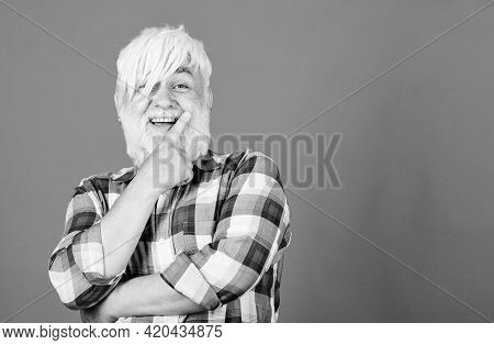 For Incredible Hair. Mature Bearded Man In White Wig. Hairloss Concept. Senior Man With Beard. Healt