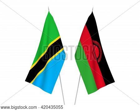 National Fabric Flags Of Tanzania And Malawi Isolated On White Background. 3d Rendering Illustration