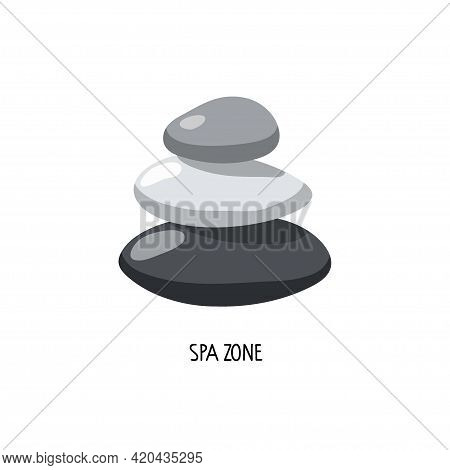 Balancing Stones On White Background. Abstract Vector Logo With Stones. Minimalist Hand Drawn Illust