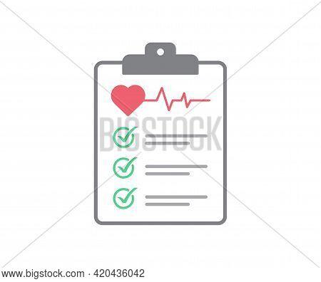 Health Check Up Icon On White Background. Clipboard Of Health Checklist. Flat Design. Vector Illustr