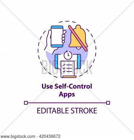 Use Self Control Apps Concept Icon. Increase Productivity At Work. Task Efficiency. Self Control Ide