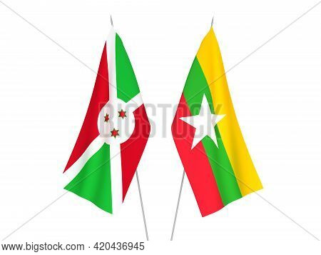 National Fabric Flags Of Myanmar And Burundi Isolated On White Background. 3d Rendering Illustration