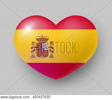 Heart Shaped Glossy National Flag Of Spain. European Country National Flag Button, Spanish Symbol In