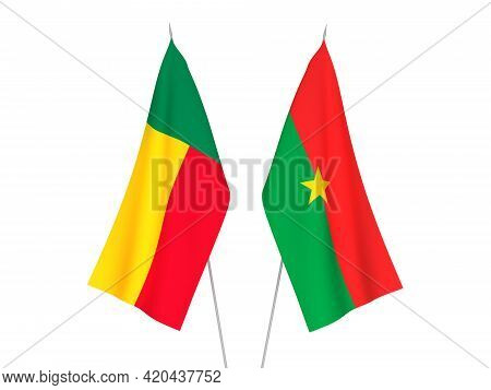 National Fabric Flags Of Benin And Burkina Faso Isolated On White Background. 3d Rendering Illustrat