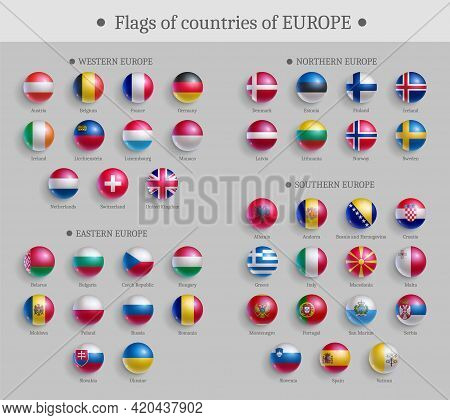 Flags Of Countries Of Europe Glossy Buttons Set. European Countries National Flags, Round Shape Shin