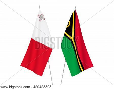National Fabric Flags Of Republic Of Vanuatu And Malta Isolated On White Background. 3d Rendering Il