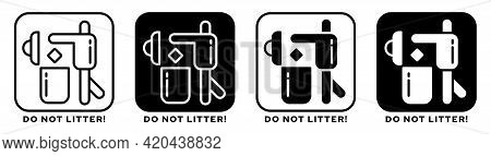 Product Packaging Labeling - Throw Away In The Trash Bin. Sign - Take Care Of The Work Of The Cleane