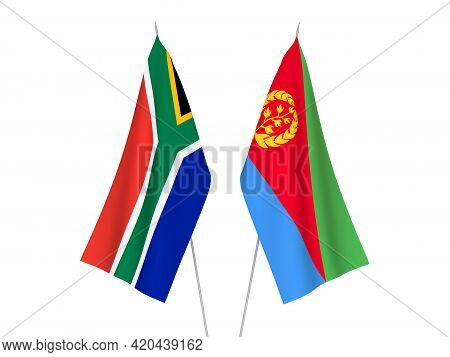 National Fabric Flags Of Republic Of South Africa And Eritrea Isolated On White Background. 3d Rende