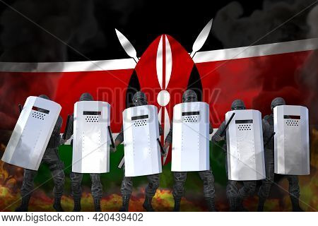 Kenya Protest Stopping Concept, Police Special Forces In Heavy Smoke And Fire Protecting Government