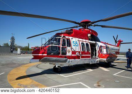 05.11.2021 Ukraine. Kyiv. Forum Ukraine 30. Helicopter Of The Rescue Service Of Ukraine