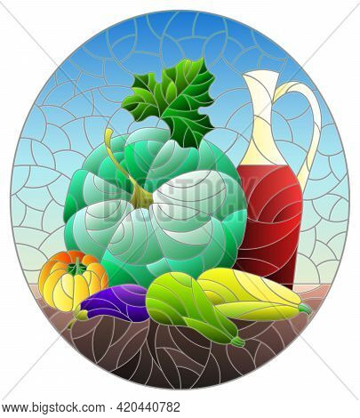 Illustration In The Style Of A Stained Glass Window With A Vegetable Still Life, Vegetables On A Blu