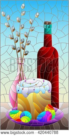 Illustration In The Style Of A Stained Glass Window With An Easter Still Life, A Bottle Of Cahors, A