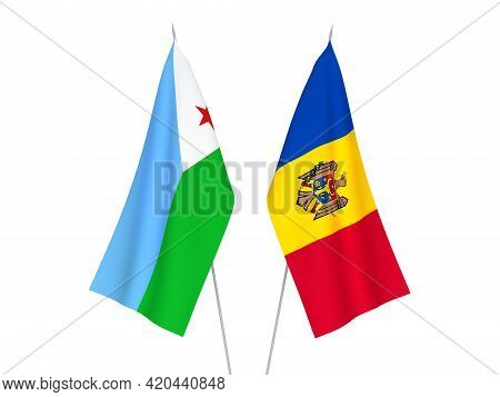 National Fabric Flags Of Republic Of Djibouti And Moldova Isolated On White Background. 3d Rendering