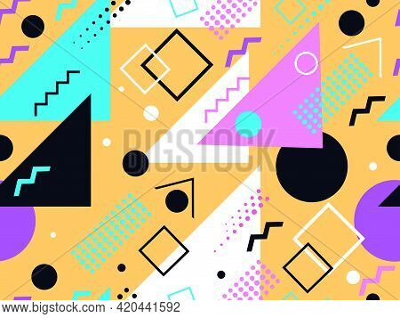 Memphis Seamless Pattern. Geometric Elements Memphis In The Style Of 80\'s. Trendy Retro Background