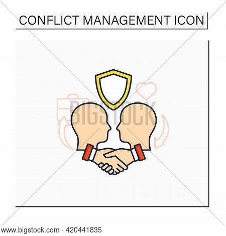 Building Trust Color Icon. Trusting Relationships. Friendly Atmosphere. Successfully Handles, Resolv