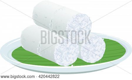 Vector Illustration Of White Rice Puttu -kerala Special Breakfast Items Made Using Rice Flour Which