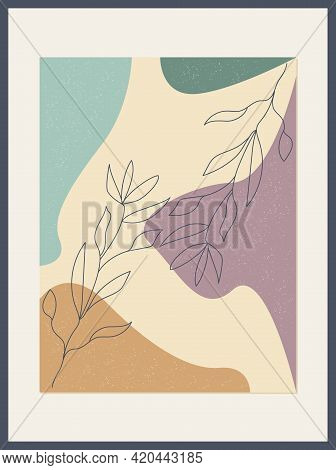 Minimalist Poster With Botanical Leaf Branch And Abstract Organic Shapes. Botanical Wall Art Vector