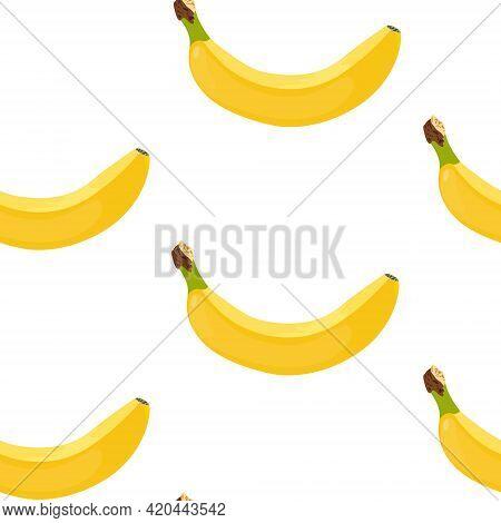 Bananas Seamless Vector Pattern. Yellow Ripe Bananas On A White Background. Pattern Of Yellow Ripe B
